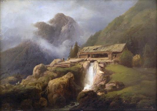 Josef Matěj Navrátil, Horská krajina u Vyššího Brodu, (1830), olej na dřevě