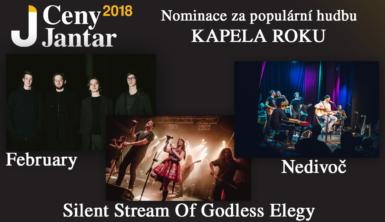 Nominace na Cenu Jantar 2018 v kategorii Kapela roku: February, Nedivoč a Silent Stream of Godless Elegy